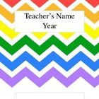 """Rainbow Chevron covers for you to use with your """"Teacher Binder""""  Includes ....  Cover, Student Information, Transportation Information, etc.   You..."""