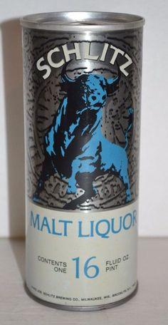 1972 SCHLITZ MALT LIQUOR VINTAGE BEER CAN 16 FL.OZ. Empty Pull Tab Steel #SchlitzMaltLiquor