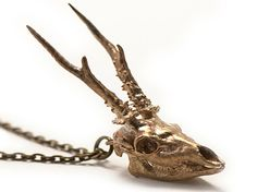 Antler Necklace Roe Deer Metal Skull Pendant by 3DPrintedSkull, $39.99