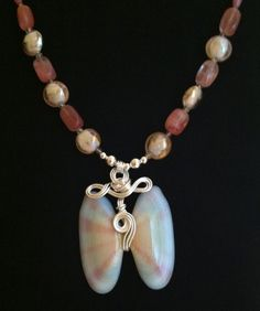 Shell silver wire wrapped pendant necklace