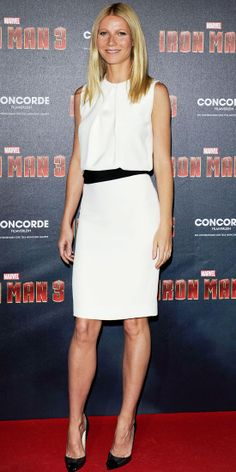 Gwyneth Paltrow hit the Iron Man 3 premiere in a crisp white sheath and cap-toe Louboutins. The queen of understated elegance gave one of the season's hottest trends a fresh, minimalist feel. Gwyneth Paltrow, Blythe Danner, Celebrity Bodies, Celebrity Style, Celebrity News, Fashion Beauty, Fashion Looks, Mode Inspiration, Mad Men