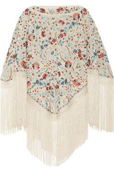 Talitha Sasha fringed embroidered silk poncho NET-A-PORTER.COM