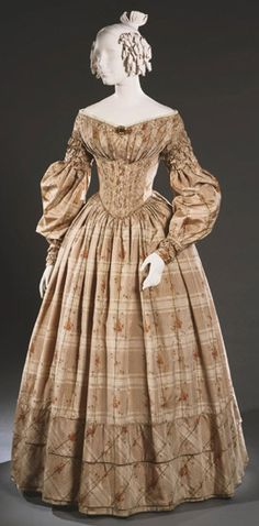 Day Dress: ca. 1838, American, warp-printed silk taffeta.