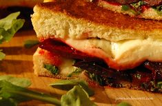Grilled Beet and Goat Cheese Sandwich Cooks Note: Canned beets could certainly be used if fresh ones are not available. Roasted Beets, Goat Cheese Sandwiches, Soup And Sandwich, Beet And Goat Cheese, Blue Cheese, Bacon Crisps, Twice Baked Sweet Potatoes, Melted Cheese