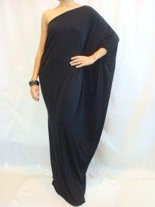 Kaftans for Women | 2013 Women's Black Long One Shoulder Kaftan Maxi Dress Plus Size L Xl ...