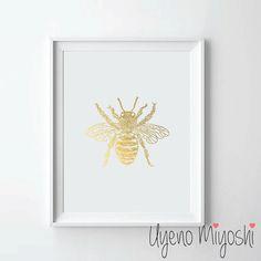 Bee Retro Gold Foil Print Gold Print Custom Print by UyenoMiyoshi