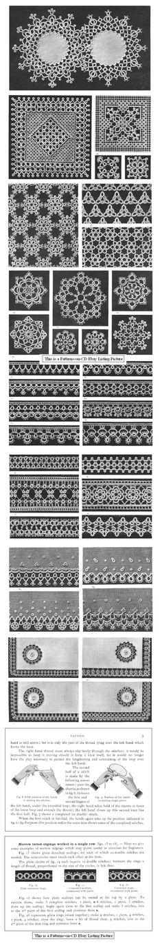 "Patterns can be found in The Archive of Tatting Books in the Public Domain http://www.georgiaseitz.com/public/publicindex.html - ""The DMC Library Tatting Book"""