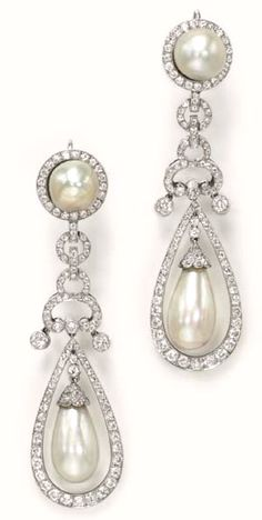 A PAIR OF PEARL AND DIAMOND EAR PENDANTS  Each set with a natural pearl drop, measuring approximately 10.50 x 18.50 and 10.44 x 17.30 mm, swinging within a tapered old European-cut diamond surround, to the graduated circular diamond links, suspending collet-set diamonds, to the circular diamond surmount set with a natural pearl, measuring approximately 10.40 and 10.90 mm each, (one pearl cracked and glued), mounted in platinum