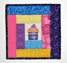 """Quilted Cupcake Pot Holder, Quilted Fabric Hot Pad, Modern Log Cabin Quilted Trivet, 9.5""""x9.5"""", Quiltsy Handmade by VillageQuilts on Etsy"""