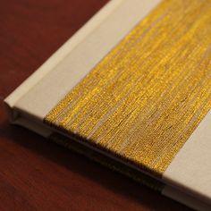 """Goldilocks"" case bound book. 10 x 14cm, 100 pages, sewn signatures, cloth cover, gold cotton embellishment by Czech shop Fler."