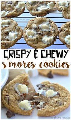 These s'more cookies are crispy on the outside and chewy on the inside...sooo good to make with your kids this summer!