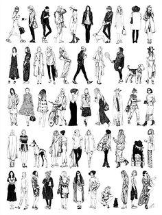 Amber Day's Portfolio - Amber Day - Lifestyle and Fashion illustrator. Human Figure Sketches, Human Sketch, Figure Sketching, Urban Sketching, Figure Drawing, Sketches Of People, Drawing People, People Illustration, Illustration Art
