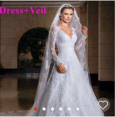 Lace long sleeved wedding dress