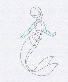how to draw ariel the little mermaid, step 5