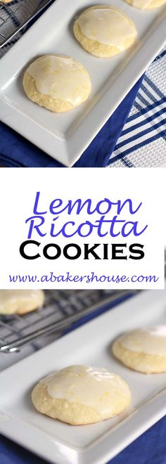 Lemon Ricotta Cookies are a fluffy and light cookie that reminded me of a madeleine -- half cookie and half cake-like. Topped with a lemon glaze made with lemon juice and zest, these cookies disappeared quickly! Made by Holly Baker at www.abakershouse.com