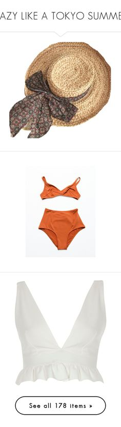 """HAZY LIKE A TOKYO SUMMER"" by jayda-xx ❤ liked on Polyvore featuring hats, accessories, fillers, underwear, swimwear, lingerie, swim, tobacco, laura urbinati and bandeau bikini tops"