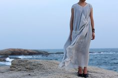 Light gray blue Textured long maxi loose plus size by BonLife