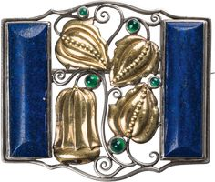 "Design Eugen Pflaumer (Weißenfels a. d. Saale geb.) Brooch Execution: Eugen Pflaumer, c. 1912 silver, partly gilded, Lapis lazuli on both sides, green semi-precious stones; marked on the reverse : maker's mark ""PE"" (for Eugen Pflaumer); 3 x 3.5 cm Art Deco, Art Nouveau Design, Jewelry Crafts, Jewelry Art, Avantgarde, Tiffany Art, Makers Mark, Arts And Crafts, Things To Come"