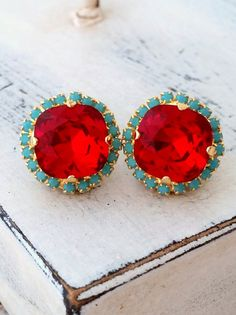 Red and turquoise Swarovski crystal stud earrings by EldorTinaJewelry | http://etsy.me/1T8Oii9