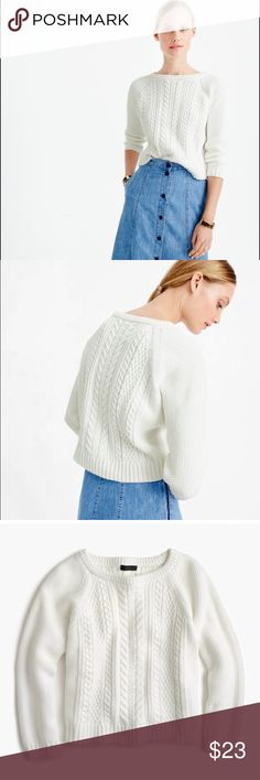 """💕🍡$20 SALE🍡💕JCrew Cable Knit Sweater ✨J. Crew UK Cable Knit Sweater ✨100% Cotton ✨Relaxed Fit ✨Approx 21"""" armpit to armpit lying flat  ✨Reviews online state this runs a tad big ✨Hits Slightly Above Hip ✨Classic Cable Crew Neck ✨Cropped Sleeves ✨Bracelet Sleeves ✨Open Shape ✨Summer 2016 ✨Perfect Condition J. Crew Tops"""