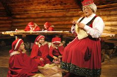 Photo: Mrs Clause - wife of Santa Claus - with elves in Lapland in Finland: House Christmas Cottage of Mrs. Santa Claus in Rovaniemi Santa Claus Wife, Santa Claus Village, Santa's Village, Lappland, Father Christmas, Christmas Elf, Holiday, Mrs Clause Costume, Meet Santa