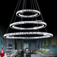 Heiße Verkaufen3 Diamant Ring Kristalllicht Befestigung, LED Hängende Helle  Aufhebung Lumiere Moderne LED Beleuchtung Kreis Lampe CEROHS Freeshipping