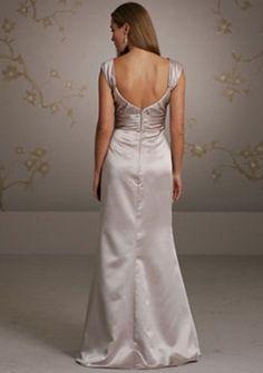 A-line Scoop neck Floor-length Satin Evening Dress