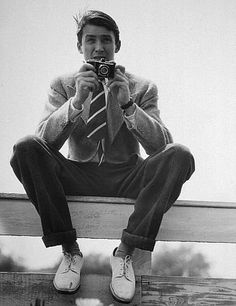 """Jimmy Stewart is my third and final style inspiration to wrap up my trio. I don't like looking like a man, but I love relaxed classic mens wear looking things. Grandpa cardigans and boy-fit jeans make me feel comfortable and very """"me"""", if you will."""