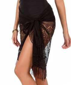 Another great find on #zulily! Black Novel Ideas Fringe Sarong #zulilyfinds