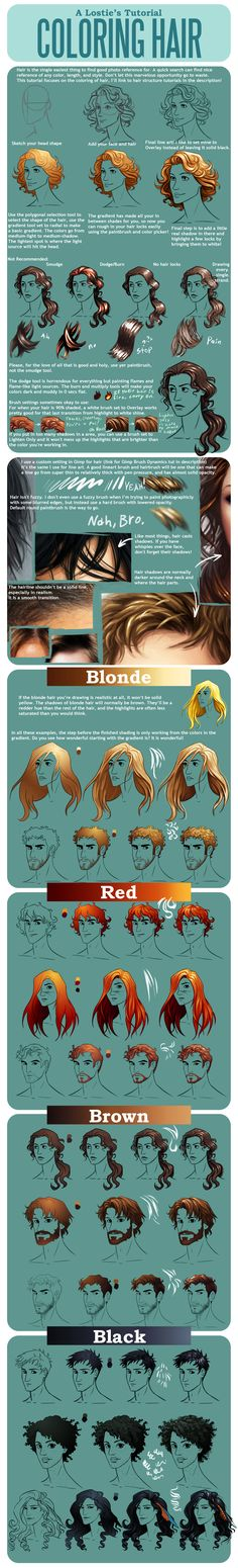 Hair Coloring Tutorial by on deviantART: This is a great tutorial. I use PhotoShop and use the Tools they talk about in the tutorial. Digital Painting Tutorials, Digital Art Tutorial, Painting Tips, Art Tutorials, Drawing Tutorials, Digital Paintings, Matte Painting, Drawing Techniques, Drawing Tips