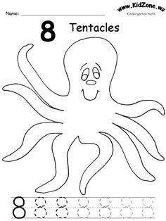 KidZone ocean theme number worksheets.