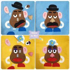 Sacolinhas para lembrancinhas tema Toy Story.    Sr. e Sra. Batata com as peças destacáveis em velcro.    Feitas em feltro com alças de gorgurão.