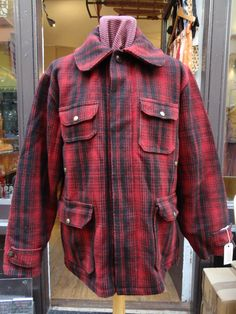 """Vintage 1940s red black buffalo shadow plaid Woolrich wool hunting jacket rockabilly 48"""" chest by TheDustbowlVintage on Etsy https://www.etsy.com/listing/218328145/vintage-1940s-red-black-buffalo-shadow"""