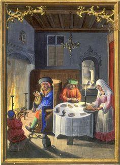 Da Costa hours [1515 ] Januar Menschen am Kamin