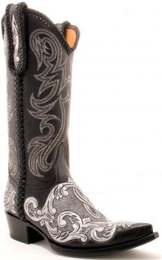Women's Mona Silver and Black boots, by Old Gringo.