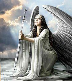 Angel Images, Angel Pictures, Fallen Angel Tattoo, Michael Angel, Sword Tattoo, Spiritual Warrior, Angel Warrior, Fantasy Paintings, Warrior Princess