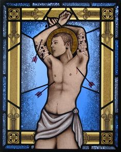 Saint Sebastian, erotic and homo erotic, male nude, gay art, stained_glass, colored glass, lead and glass paint fired several times at 680 degrees, mounted on a light_box