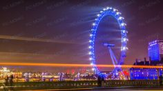 A beautiful night shot of the London Eye shot from a moving car!
