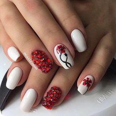 Beautiful white polish nails, Drawings on nails, Festive nails, Medium nails, Nails ideas with flowers, Nails with poppies, Nails with stones, Original nails