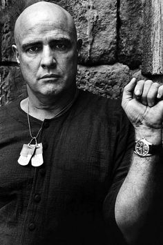 APOCALYPSE NOW - Marlon Brando as renegade soldier 'Colonel Walter E. Kurtz' - Screenplay by John Milius - Directed by Francis Ford Coppola - United Artists - Publicity Still. Marlon Brando, Robert Duvall, I Movie, Movie Stars, Harrison Ford, Martin Sheen, Francis Ford Coppola, Fritz Lang, Rolex Gmt Master