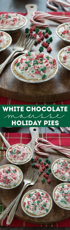 No bake mini white chocolate mousse pies are terrific for Christmas! Top them with red and green holiday chocolate chips!
