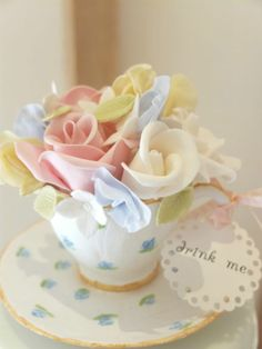 Vintage Tea Cup & Flowers Cake Topper