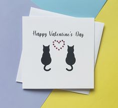 Cats Valentine's Day card Handmade Valentine's Day | Etsy Cat Valentine, Valentine Day Cards, Happy Valentines Day, Baby Girl Cards, New Baby Cards, Cat Lover Gifts, Cat Gifts, 1st Birthday Cake Topper, Romantic Cards