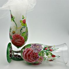 Painted Glasses with Rose and Daisy Floral by PaintedDesignsByLona, $40.00