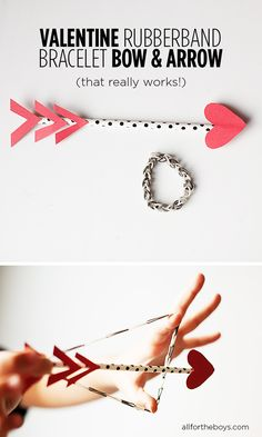 Rubberband bracelet bow and arrow that really works! from All for the Boys. Cool Valentine Party craft activity idea, uses rainbow loom. from All For the Boys. Valentine Day Love, Valentines Day Party, Valentine Day Crafts, Funny Valentine, Holiday Crafts, Holiday Fun, Valentines Day Activities, Craft Activities, Rainbow Loom
