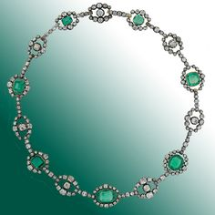 Antique Victorian Emerald And Diamond Necklace Set In Silver Over Rose Gold   c. Mid To Latter 19th Century