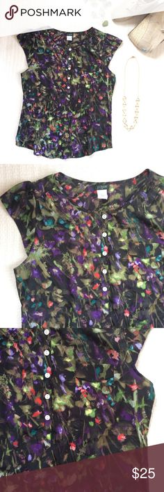 """🆕LISTING {J. Crew} Brushstroke Floral Blouse Beautiful flowy blouse in vivid florals. Layer under a favorite cardigan or denim jacket! Will look amazing this spring/summer worn with white denim! Factory. Cap sleeves. Button front. Single chest pocket. 26"""" long from shoulder to hem. Polyester. Hand wash. In excellent condition. J. Crew Tops"""