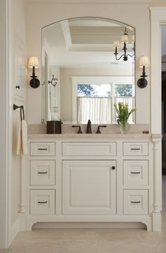 mirror shape (notice bevel), trim around, lights and width -- not cabinets and not faucet finish