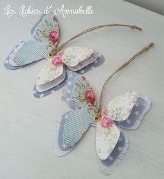 2 étiquettes papillons de papier style Shabby Chic