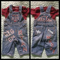 Aggie baby painted overalls! WHOOP! #diy